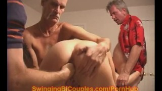 Milf MOM turns BI with Husband  swingers party mom blonde orgy fisting mature shaved fingering mother swingingbicouples big boobs pussy eating natural tits