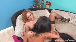 Porn legends Asa Akira & Shyla Stylez get it on  lingerie asian blonde puba asaakira skinny asafucks big boobs big tits canadian pornstar tattoo busty japanese lesbian scissoring tribbing girl on girl