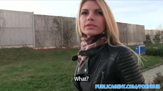 PublicAgent Tall blonde fucks for money Masturbating pussy
