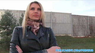 PublicAgent Tall blonde fucks for money Sucking tv
