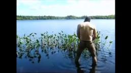 fishnet pantyhose jerk off in lake
