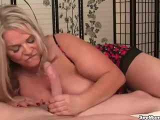 Sexy Curvy Mom Busty Milf Loves Young Cocks, Big Tits Blonde Handjob Mature