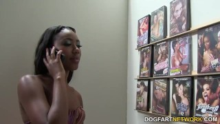 Chanell Heart sucks and fucks in a gloryhole  ebony black blowjob small tits fetish hardcore kink interracial dogfartnetwork gagging deepthroat glory hole natural tits