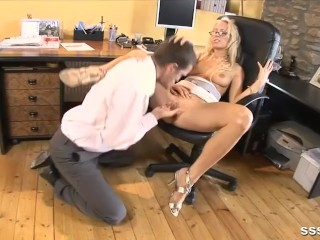 Porn Teen Tight Tiny Sexy blonde office babe gets her tight pussy finger fucked deep