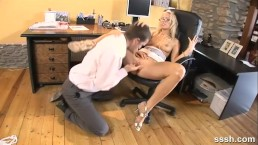 Sexy blonde office babe gets her tight pussy finger fucked deep
