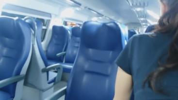 Couple anal fuck on public train