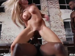 Busty Nina Elle tag teamed by 2 big black dicks