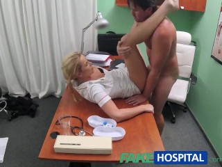 Sexy Busty Russian FakeHospital Nurse helps stud get an erection