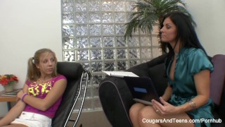 Blonde her pigtailed llicks therapist on tits