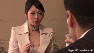 Elegant brunette gets her hairy pussy filled with cum  hairy creampie mom cum-inside nipponhd missionary jav hardcore milf natural-tits japanese small-tits uncensored