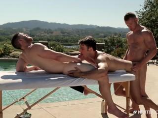 NextDoorBuddies Poolside Massage Threesome FUCK