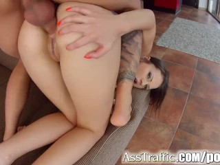 Dad Tucks Daughter Ass Traffic Cum Swallow After Hard Anal Sex, Brunette Hardcore Anal Euro