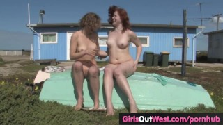 Preview 4 of Girls Out West - Hairy Aussie lesbians fuck outdoors