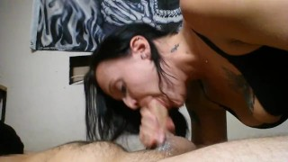 I suck his dick until he cums in my mouth and throat porno