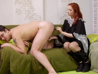 Thanksgiving Porn Redhead Girl Dutifully Fucking Guys Butt With Vibrator And Strap-On, Bondage Cumsh