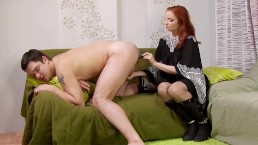 Redhead Girl Dutifully Fucking Guys Butt With Vibrator And Strap-On
