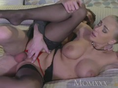 MOM Tattooed blonde MILF beauty loves to suck and fuck big cock
