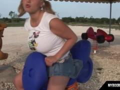 Busty teen Malina May playing outdoor