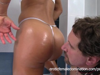 Frank The Slave Sniffs Oiled Up Domme Diana In The Bath