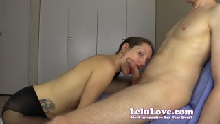 Sucking another mans big cock for YOU to clean the cum later  high heels homemade cuckolding hd femdom amateur blowjob cumshot instruction hardcore pantyhose brunette lelulove natural tits cheating encouragement lelu love