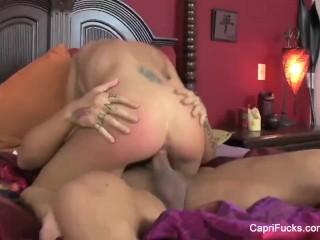 Busty Capri Cavanni fucks on the bed
