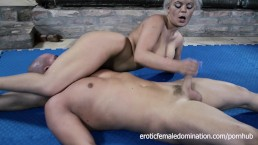 Sexy Mistress Gives Her Slave A Handjob