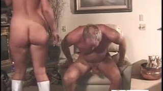 Mature Guy Cums Only After A Pegging  strap on prostate massage white boots pegging bdsm couple femdom amateur fucking kink older man female domination adult toys facesittingbutts