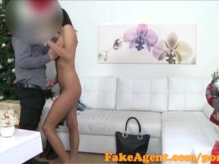 FakeAgent Skinny waitress sucks and fucks in Xmas Casting