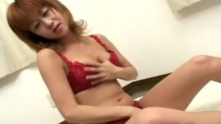 Toy lingerie fucks red in seductress asian japanese dildo