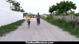 Preview 5 of TheRealWorkout - Busty Blonde Trainer Fucks Client