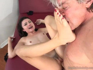 Adria Rae Gives a Hot Footjob and Receives a Cumshot Across Toes