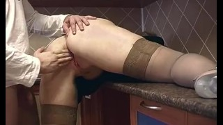 Blonde Housewife In Stockings Receives Deep Pussy Fisting porno