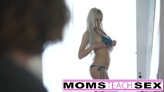 Hot threesome for stepmom and young schoolgirl Striptease teasing