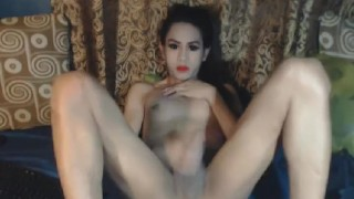 Nasty Shemale Babe Masturbation Show Stockings big