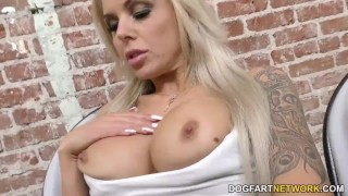 Nina Elle sucks black cocks through Gloryhole  big tits big cock blowjob blonde gloryhole cumshot fetish big dick interracial dogfartnetwork gagging deepthroat facial big boobs glory hole fake tits