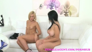 FemaleAgent Busty beauty fucked with big dildo