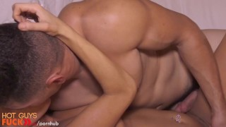 Fit guy by dumb drilled blonde gets straight cock blonde