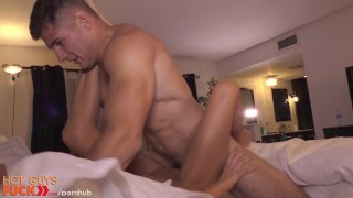 Blonde fit guy gets dumb by straight drilled sucking stud