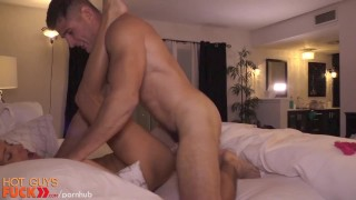 Dumb blonde gets drilled by fit straight guy. porno