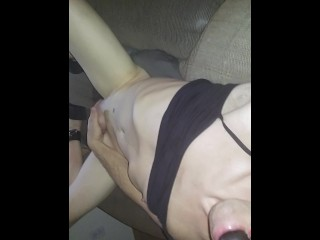 Ball gagged submissive cockslut drools for Daddys cock