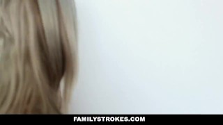 FamilyStrokes - Dad Creeps On Step Daughters While Mom Sleeps Blindfold rubbing