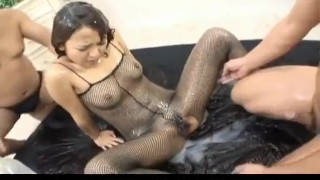 Miyo Kasuge gets cock and lotion over body  pussy-creampies alljapanesepass rear-fuck 3some fishnet lingerie creamed cunt cumshot wet-body cum busty