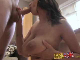 FakeAgentUK Creampie for Romanian babe fucked over desk in casting