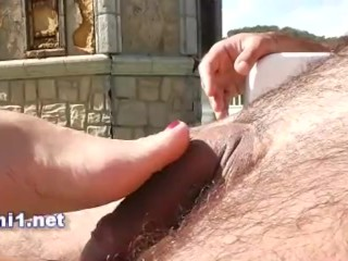 footjob and handjob for cum a big dick at a public pool by naomi1