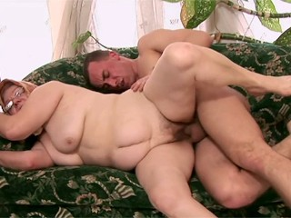 Slutty granny fucked hard in the pussy and facialized in the end