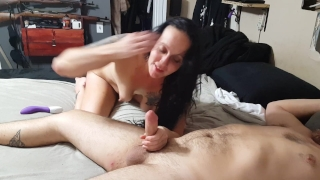 Anal cream-pie, I squirt the cum from my ass into his mouth, he swallows it Position licking