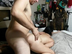 My FIRST anal creampie swallow!! Hard wife assfuck! Painal!