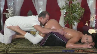 Massage Rooms Young Teen masseuse is licked and fucked by older man Karla hardcore