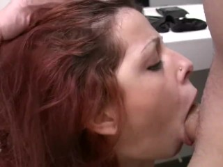 Horny girlfriend doing super blowjob at the toilet.Homemade video