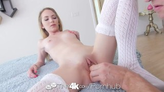 Tiny4K - Petite Angel Smalls takes a big dick in her tiny pussy hole